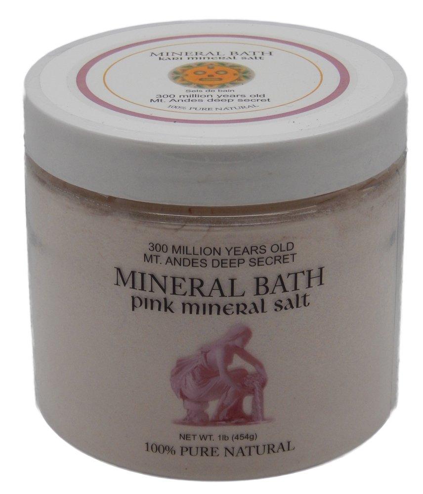 Mt. Andes Kari Pink Mineral Bath Powder Salt KBJP-454 - 1LB Deep Secret Unrefined Salt, 100% Pure Natural Salt over 3 Millionon Years