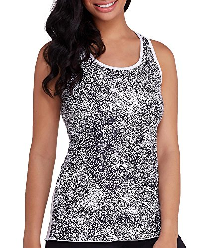 MSP by Miraclesuit Women's Reversible Racerback Tank, White Combo, Small