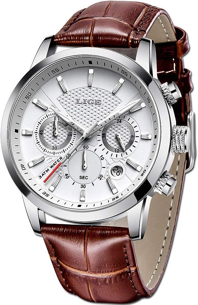 LIGE Relojes Hombre Impermeable Militar Cronógrafo Relojes Hombre Negocio Cuarzo Relojes Casual Moda Marrón Cuero Relojes