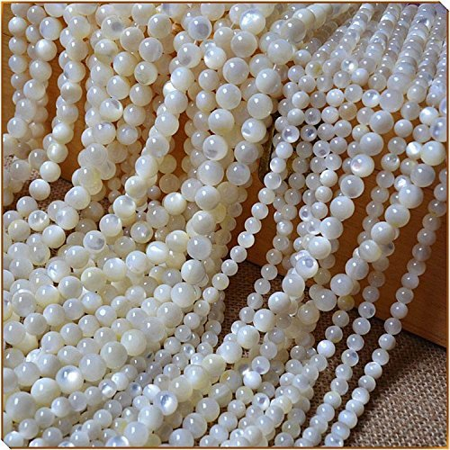 HYBEADS 6mm Natural AAA Clear White Mother Of Pearl Nacre Oyster Shell Beads Round Loose Beads