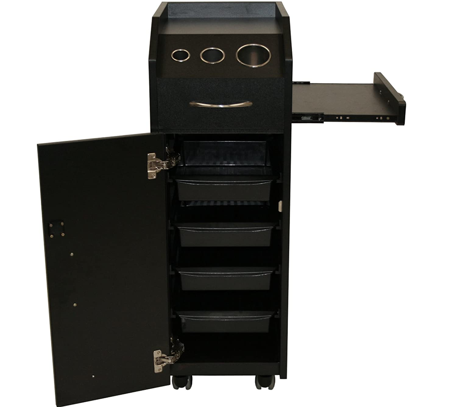 LCL Beauty Locking 4 Drawer Rolling Workstation Trolley with Tool Holders Nesting Utility Shelf