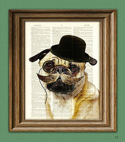 Dapper Doug Gentleman Pug Dog Art Print Illustration Beautifully Upcycled Dictionary Page Book Art Print 3