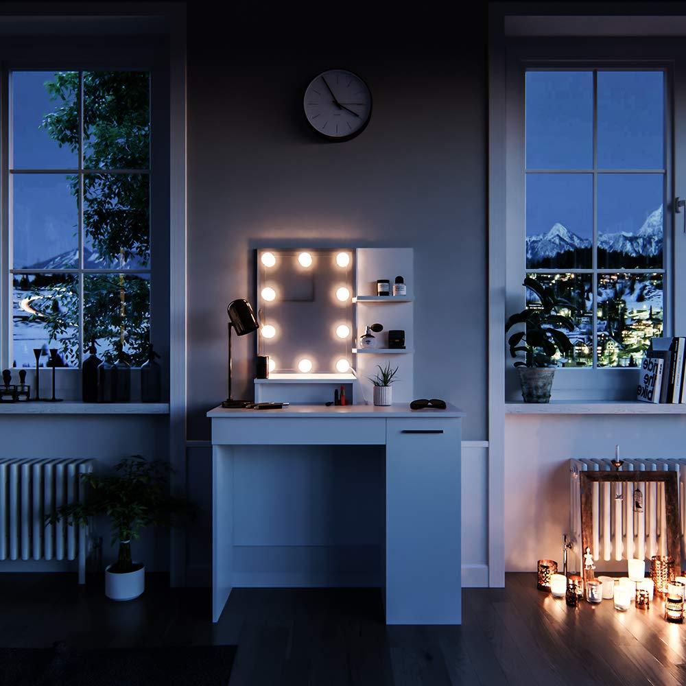 Vicco Schminktisch Julia Frisiertisch Kommode Frisierkommode Spiegel Wei/ß inklusive LED-Lichterkette