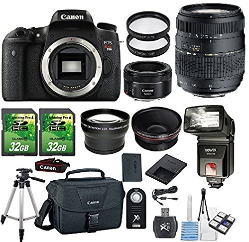Canon EOS Rebel T6s 24.2MP DSLR Camera with Canon 50mm STM Lens+Tamron 70-300mm Zoom Lens +.43x Wide Angle Aux Lens+ 2.2x Telephoto Aux Lens+ 2pc 32GB SD Card + Flash+SD Card Reader +Canon Case+Tripod by Paging Zone