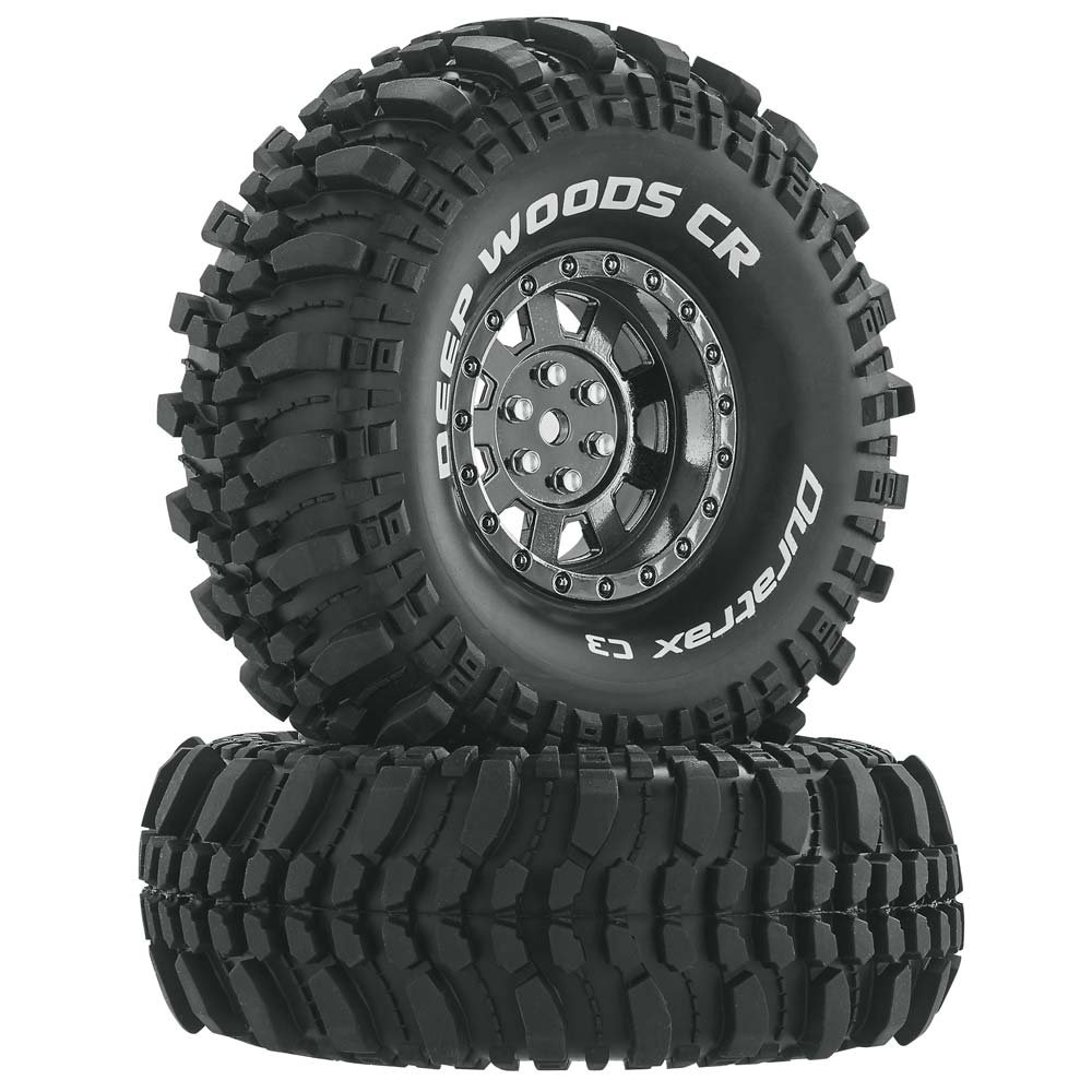 Duratrax Deep Woods RC Rock Crawler Tires with Foam Inserts, C3 Super Soft Compound, High Traction, 1.9'', Black Chrome (Set of 2)