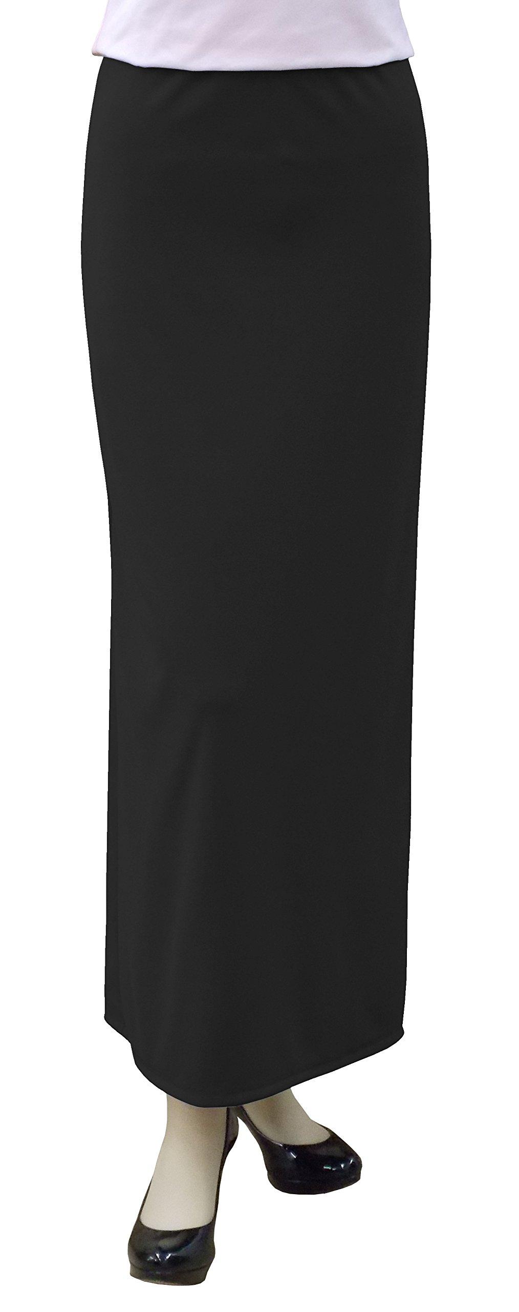 Baby'O Women's Basic Modest 37'' Ankle Length Stretch Knit Straight Skirt, BLK, 12