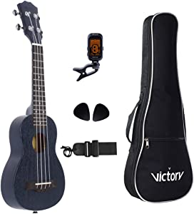 VIVICTORY Soprano Ukulele 21 Inch Mahogany Aquila String with Beginner kit : Tuner, Gig Bag, Straps and Picks - Black