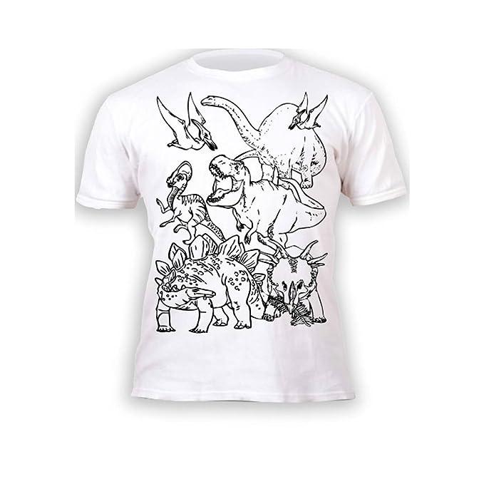 Splat Planet Camiseta DINOS, dinosaurios para niños y niñas. Con impresión para pintar y colorear. Incluye 6 colores mágicos lavables. Cumpleaños ...