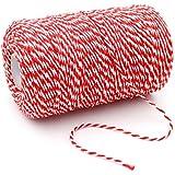 jijAcraft Ficelle de coton durable Idéale pour la pâtisserie, le jardinage, la boucherie, les travaux manuels, les emballages de cadeaux 200m 200M rouge/blanc