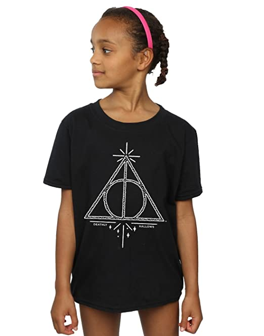 Harry Potter niñas Deathly Hallows Symbol Camiseta: Amazon.es: Ropa y accesorios