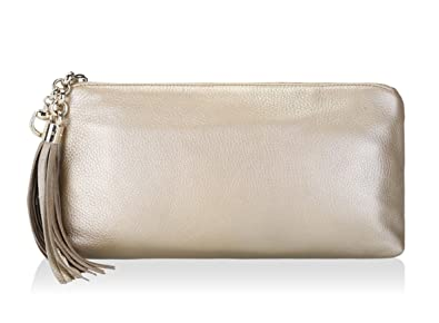 2bf41ae6cf8 Amazon.com  Gucci Gold Metallic Leather Clutch Handbag with Tassel Large