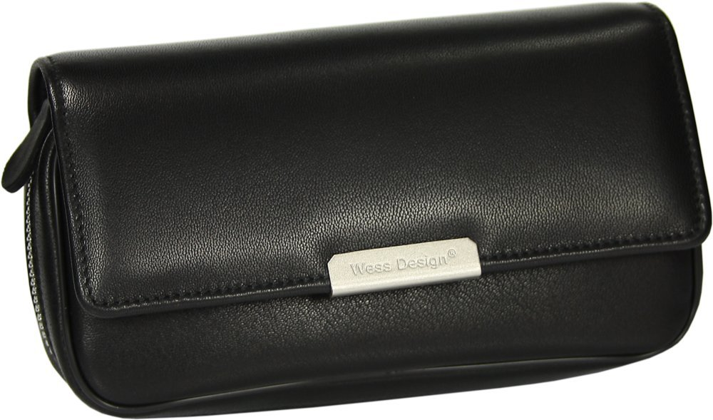 Martin Wess Germany ''Onyx'' Ultra Fine Nappa Leather 2 Pipe Bag Case