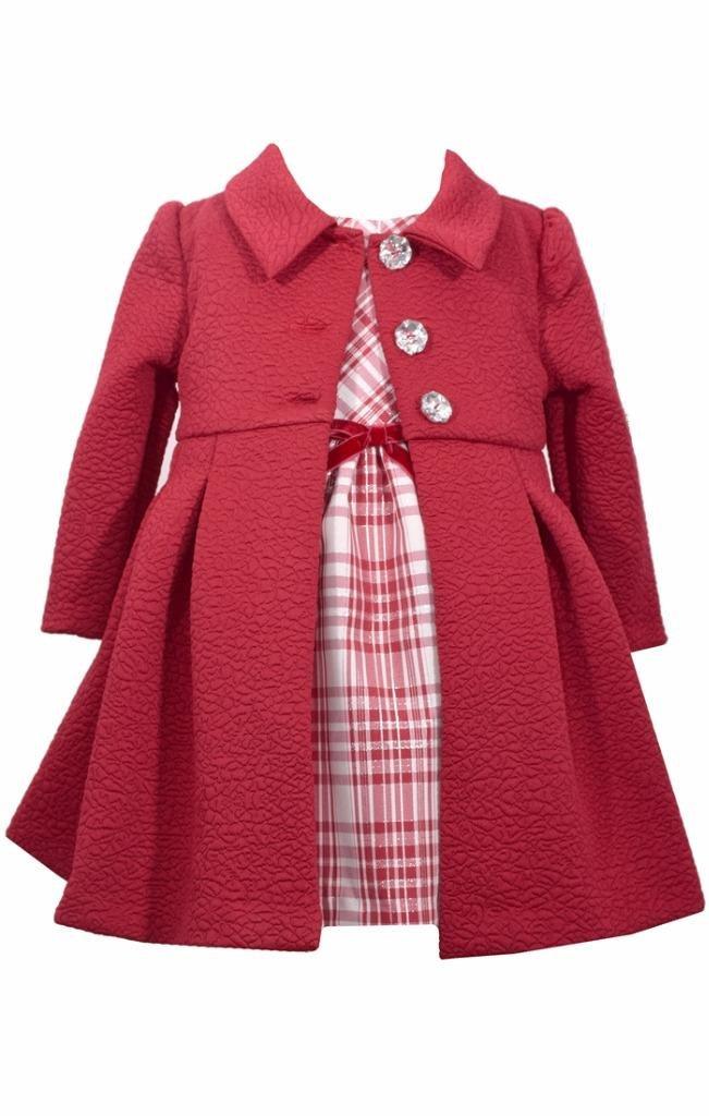 Bonnie Jean 2 Pc Christmas Plaid Dress Red Coat Set Full Skirt, Size 5