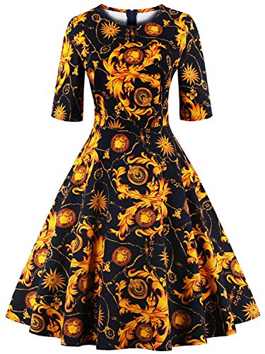 [Babyonline Gold Floral Halloween Costumes 1920s Inspired Vintage Costumes] (Cocktail Dress Halloween Costumes)