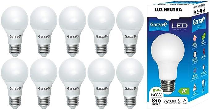 Garza ® Packs 10 unidades Bombillas Garza LED (E27 810LM 4.000K)