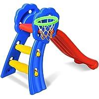 HOMGX 3-in-1 Children Slide, Freestanding Kids Slides with Basketball Hoop and Ladder, Indoor Outdoor Toddler Climber and Slide Set for 3-8 Years Toddlers, ToddlerFolding Slide