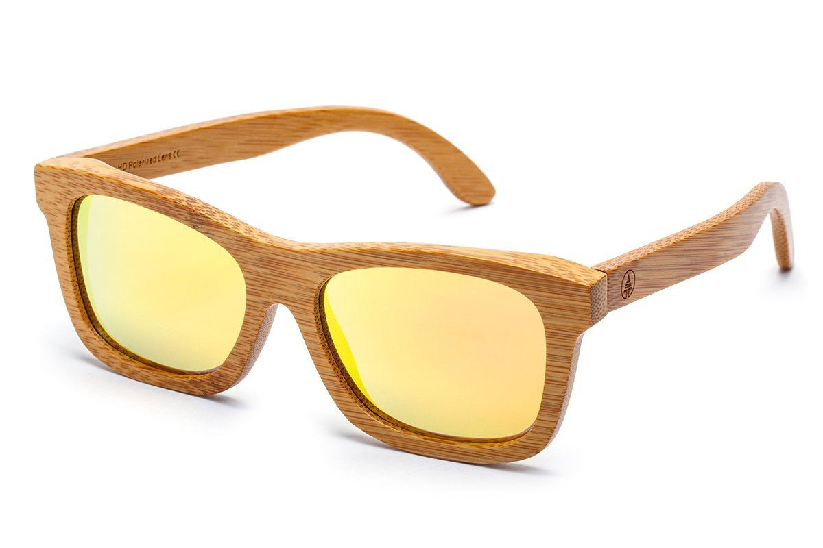 f85da00c4a0aa Amazon.com  Tree Tribe Floating Bamboo Sunglasses with Polarized Lens -  Mirror Orange Lens  Sports   Outdoors