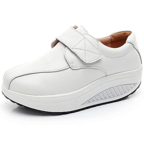 rismart Mujer Cuña Bucle Cómodo Plataformas Cuero Zapatillas Zapatos: Amazon.es: Zapatos y complementos