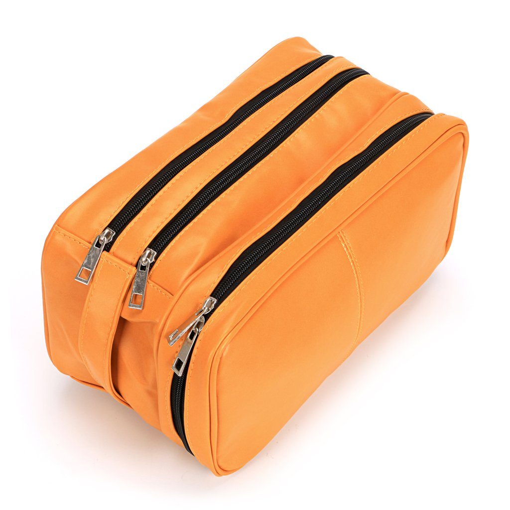 Toiletry Bags, Sumnacon Unisex PU Leather Waterproof Travel Cosmetic Bag Organizer Perfect for Shaving Grooming Dopp Kit & Household Business Vacation with Portable Handle (3 Layer Orange)