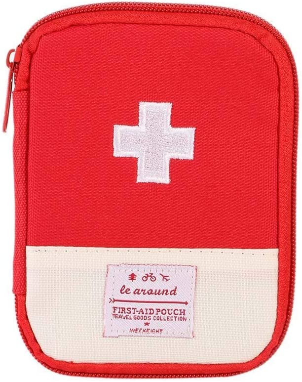 Portable Bag First Aid Kit Empty Outdoor Travel Rescue Bag Empty Pouch Tote Small First Responder Storage Compact Survival Container for Home Office Sport Car (Red with Mesh Bag.)