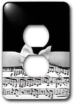 3drose Lsp 123130 6 Stylish Musical Notes Faux Ribbon And Bow Black And White Sheet Music Girly Classy Elegant Design 2 Plug Outlet Cover Amazon Com
