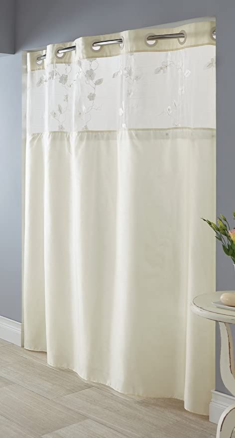 Hookless Serena Faux Silk Shower Curtain With Peva Liner Ivory Amazoncouk Kitchen Home