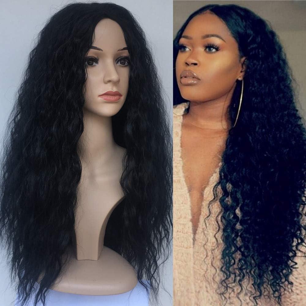 Peluca natural mujer angelof larga Afro Wavy frisé Cosplay humanos ...