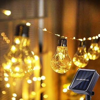 Cadena Solar de Luces,STLOVe 26ft Cadena de Bombillas 20 Bulb Impermeable Guirnalda Luces Exterior para Decoración Jardines Casas: Amazon.es: Iluminación