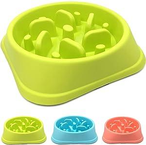 Slow Feed Dog Bowl,Bloat Stop Dog Puzzle Maze Bowl,Dog Food Water Bowl Pet Interactive Fun Feeder Slow Bowl SkidStop Design Anti-Gulping Fat Preventing Choking (Green, Tornado)