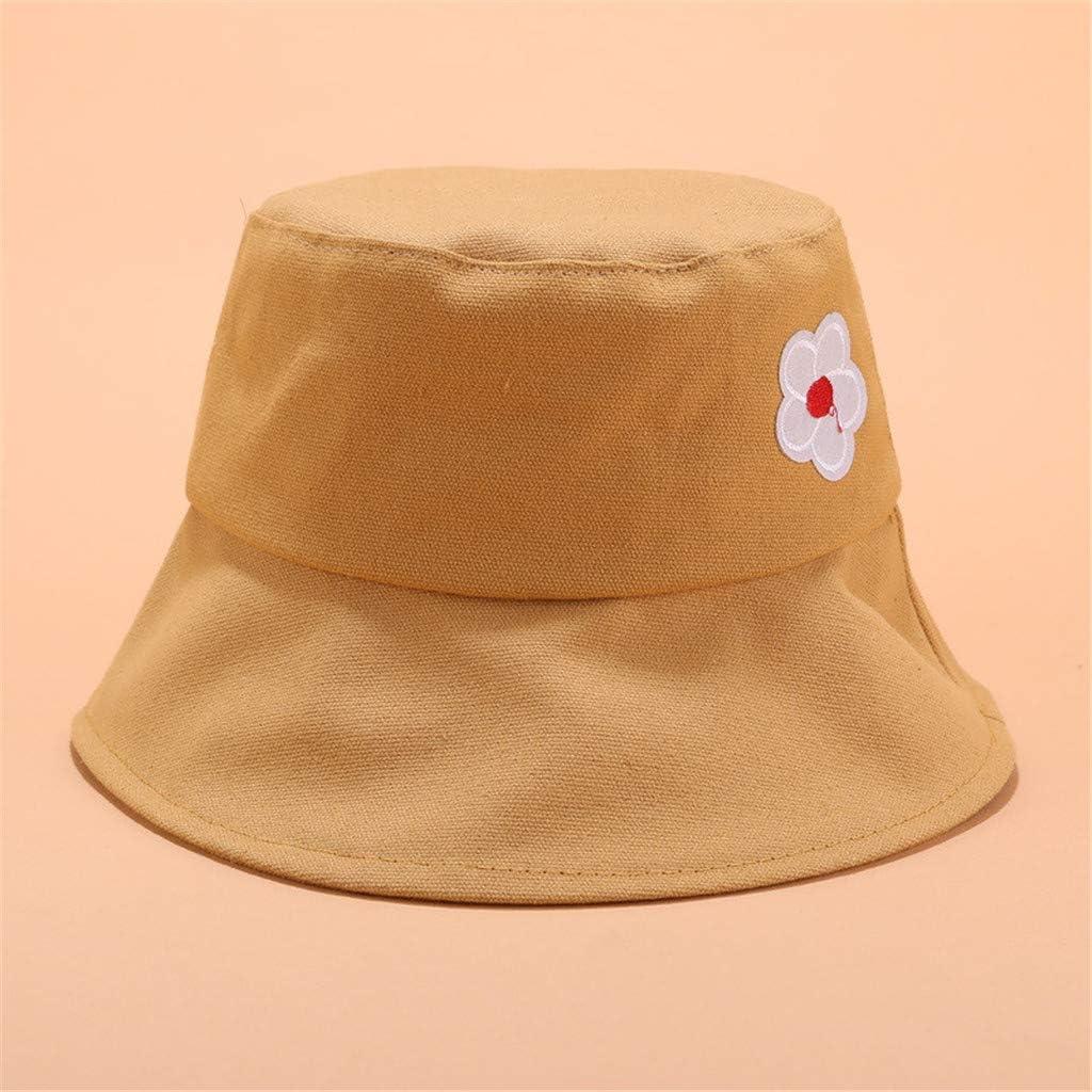 CofeeMo Unisex Fashion Cotton Embroidered Bucket Hat Summer Outdoor Fisherman Cap for Men Women Teens