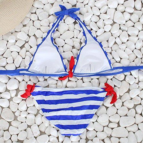 Minetom Mujeres Verano Playa Traje de Baño Colgando el Cuello Conjunto de Bikini Raya Triángulo Bikini Beachwear Trajes De Baño Azul