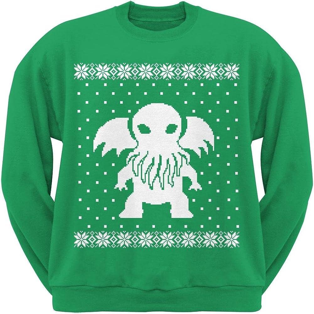 Old Glory Big Cthulhu Ugly Lovecraft Christmas Sweater Green Adult Crew Neck Sweatshirt