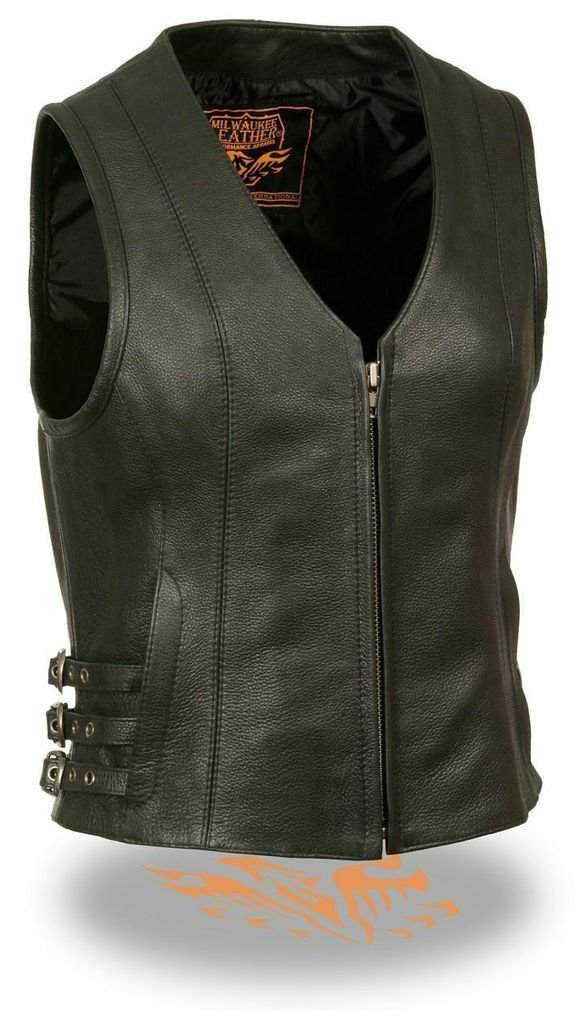 Women's Motorcycle Sexy 3 Side Buckles Leather Vest W/Gun Pocket Zip Closure(3XL) by Milwaukee