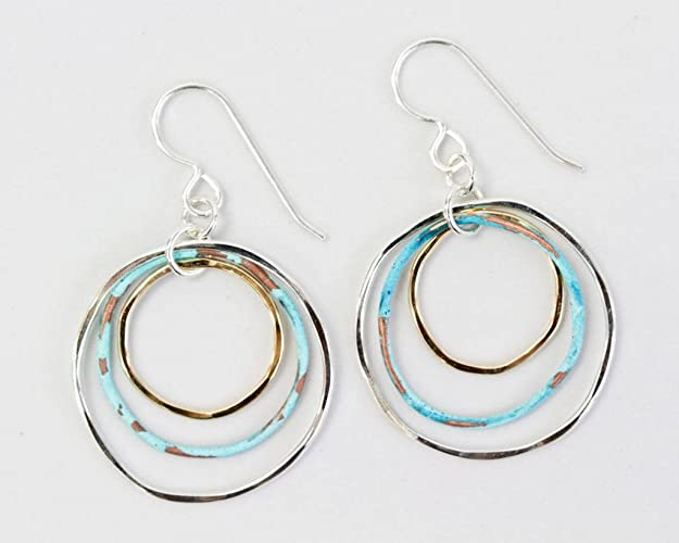 06c62b159 Amazon.com: Hoops / Trending Jewelry / Mixed Metal and Patina Hoop ...