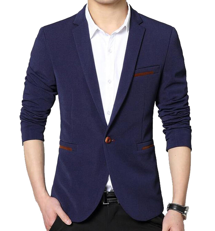 OULIU Men's Stylish New Leisure Slim Fit Suit Suit Jacket