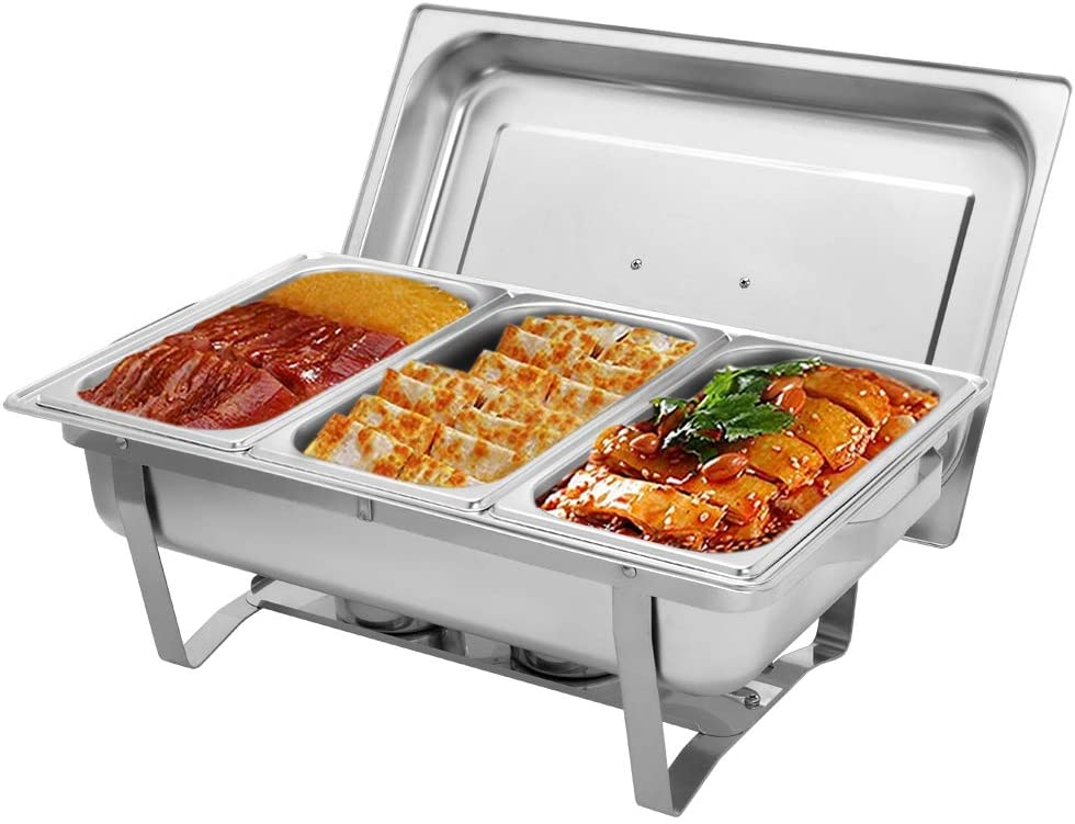 ROVSUN 8 Quart Chafing Dish, Stainless Steel Catering Serve Chafer, Restaurant Food Warmer, Rectangular Buffet Stove with 3 1/3 Size Food Pans and Foldable Frame for Party (1 Pack)