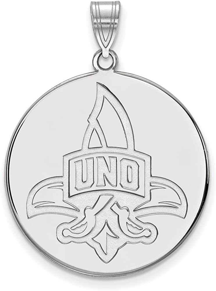White Sterling Silver Charm Pendant Louisiana NCAA University Of New Orleans 32 mm 25