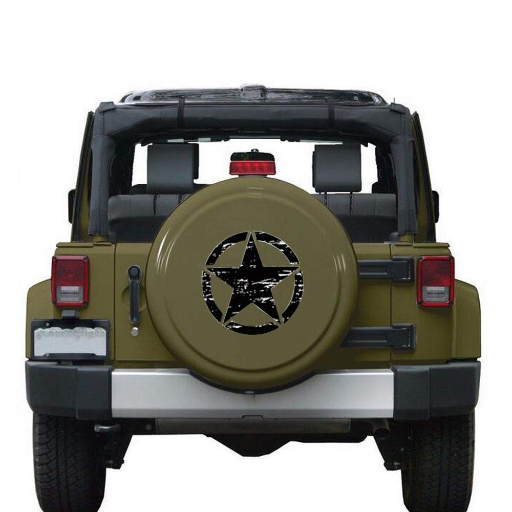 i-VIVIAN Universal Sports Racing Stripe Graphic Stickers and Decals for Truck Auto Car Body Side Door (Army Star Black)