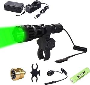 BIZOOM KL25 Hunting Light Flashlight, Long Range Red Green Varmint Light Kit for Predator Hog Fox Coyote, with Remote Pressure Switch,18650 Battery&Charger
