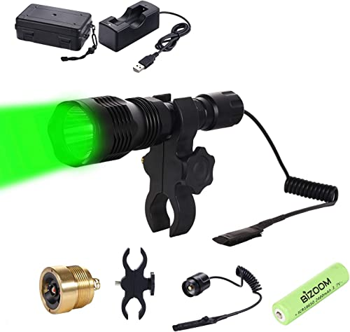 BIZOOM KL25 Hunting Light Flashlight, Long Range Red Green Varmint Light Kit for Predator Hog Fox Coyote, with Remote Pressure Switch,18650 Battery Charger