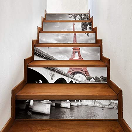 Torre Eiffel 3D Pegatinas de Escalera Antideslizante Impermeable Auto Adhesivo Pegatina de Pared Vinilo Decorativo Stair Sticker Steps Sticker, 100cm*18cm,100cm*18cm*13pcs: Amazon.es: Hogar