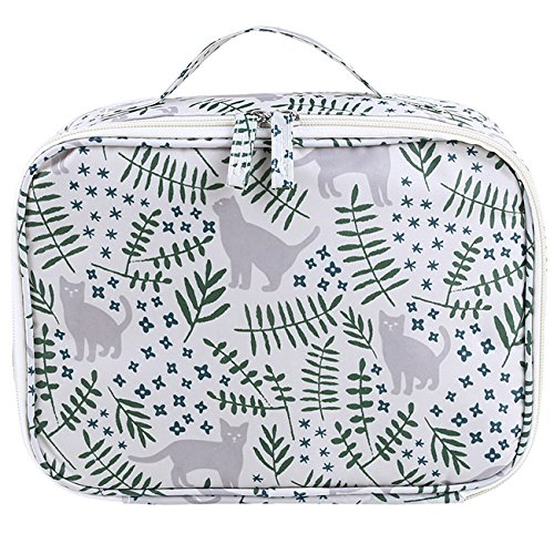 Price comparison product image Rurah Toiletry Bag Multifunction Printed Cosmetic Bag Makeup Kit Pouch Travel Organizer Travel Case for Women Girls,Cat garden