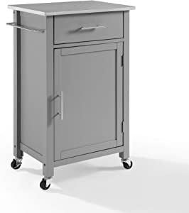 Crosley Savannah Stainless Steel Top Compact Kitchen Island/Cart Gray/Stainless Steel