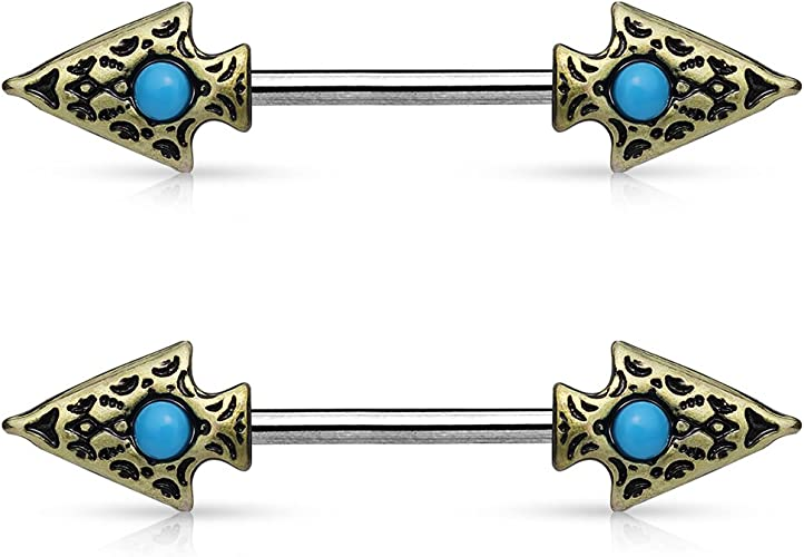 2 Pieces Urban Body Jewelry 14G Arrowhead Turquoise Nipple Ring Barbell 14mm - 9//16 - Nipple Piercings