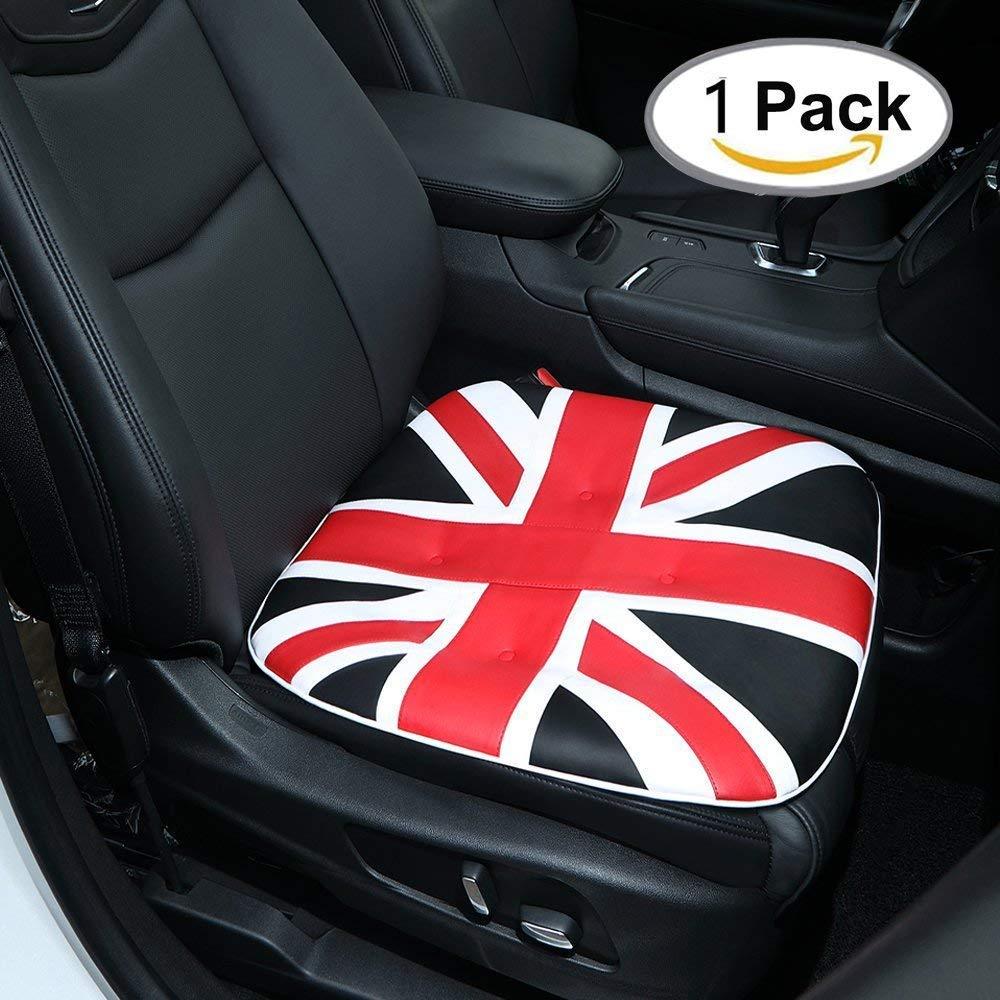 Coussin de siè ge d'auto pour chaise de bureau de voiture automatique - Coussin de siè ge de siè ge d'inté rieur pour voiture respirant avec charbon de bois en cuir PU (1 paquet, gris) CARCHAIN