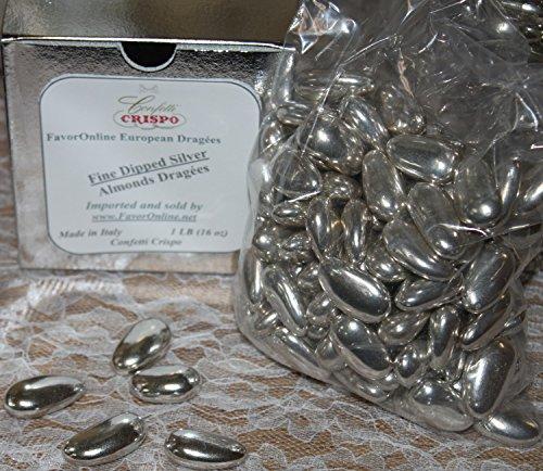 Dipped Silver Jordan Almonds Dragées -1 LB ()