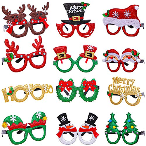Aneco 12 Styles Christmas Glasses Frame Glitter Christmas Party Glasses Christmas Costume Creative Eyewear for Christmas Party Supplies (Novelty Christmas)