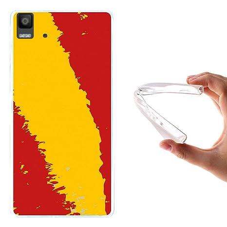 WoowCase Funda Bq Aquaris E5s - E5 4G, [Bq Aquaris E5s - E5 4G ] Funda Silicona Gel Flexible Bandera España, Carcasa Case TPU Silicona - Transparente