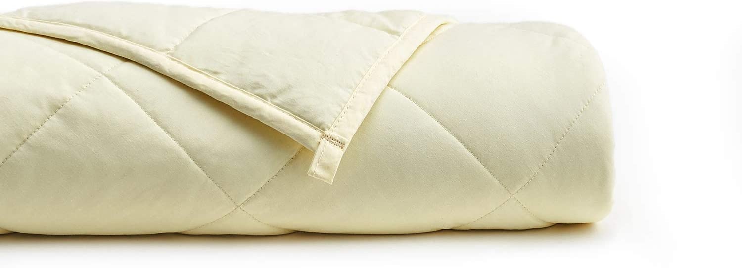 YnM Weighted Blanket (15 lbs, 48''x72'', Twin Size) for People Weigh Around 140lbs | 2.0 Cozy Heavy Blanket | 100% Oeko-Tex Certified Cotton Material with Premium Glass Beads, Cream