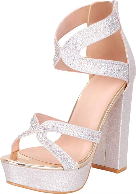 Cambridge Select Womens Strappy Chunky Platform Glitter Wedge Sandal